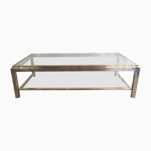 Table Basse en Chrome et Laiton, France, 1970s