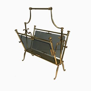 French Brass Neoclassical Magazine Rack with Glass Panels, 1960s