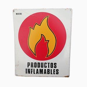 Cartel de productos inflamables, años 70