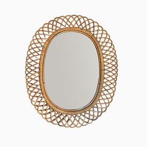 Mid-Century Spiegel im Rahmen aus Korbgeflecht