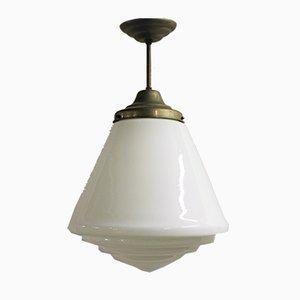 Grande Lampe à Suspension en Verre Opalin, 1930s