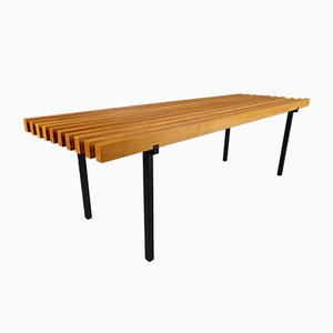 Teak & Metal Slat Bench, 1960s