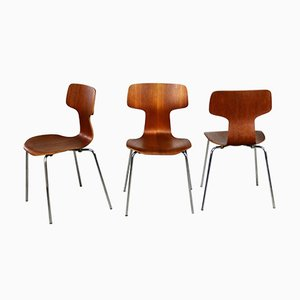 Model 3103 Grand Prix Hammer Chairs by Arne Jacobsen for Fritz Hansen, 1976, Set of 3