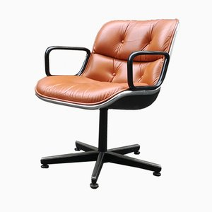 Leather Swivel Armchair by Charles Pollock, 1970s