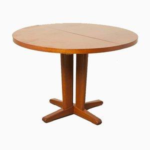 Tavolo da pranzo rotondo allungabile in mogano, anni '60