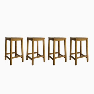 English Industrial School Lab Stools, Set of 4