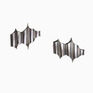 Applique in acciaio di Goffredo Reggiani per Zeroquattro, anni '60, set di 2