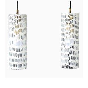 Lámparas colgantes Occhi italianas de cristal de Murano de Tobia Scarpe para Venini, 1968. Juego de 2