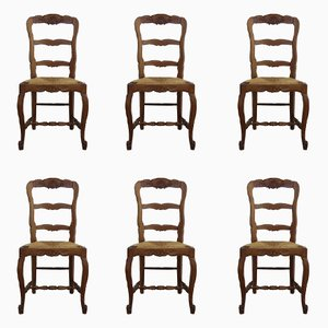 Mid-Century Oak & Rush Seated Dining Chairs, Set of 6