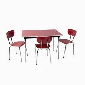 Set with Red Formica Kitchen Table and 3 Chairs, 1960s
