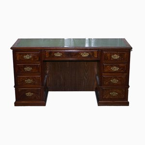 Large Victorian Burr Walnut Pedestal Desk, 1870s