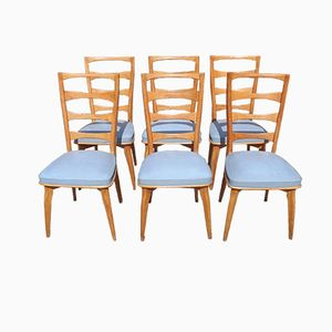 Oak & Moleskin Dining Chairs by Gaston Poisson, 1940s, Set of 6