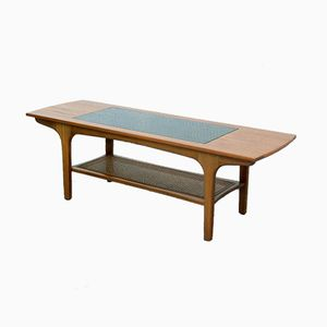 Cane, Glass & Teak Coffee Table, 1960s