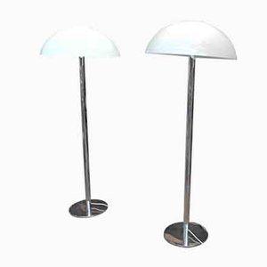 Chrome and Plastic Floor Lamps, 1970s, Set of 2