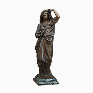 19th Century Bronze Lady Statue by Albert-Ernest Carrier-Belleuse