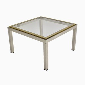 Italian Chromed & Gilded Metal Coffee Table, 1970s