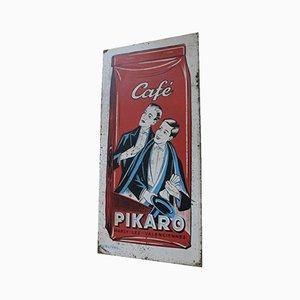Cartel de Café Pikaro de metal, años 30