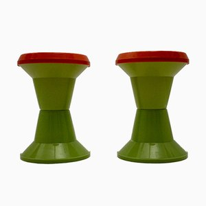 Italian Red and Green Plastic Stools from Gigaplast, 1970s, Set of 2