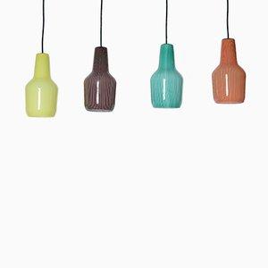 Lámpara colgante de cristal de Murano de Massimo Vignelli para Venini, 1958. Juego de 4