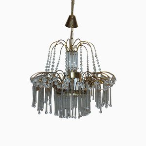 Vintage Czech Brass & Glass Crystals Chandelier, 1960s