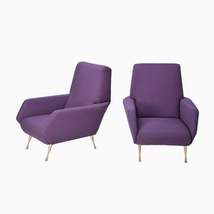 Italian Purple Upholstered Lounge Chairs, 1950s, Set of 2
