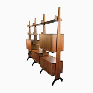 Doppelseitiges Mid-Century Bücherregal aus Teak von Vittorio Dassi, 1960er
