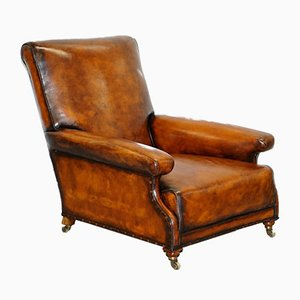 Victorian Walnut & Brown Leather Club Chair from Howard & Sons