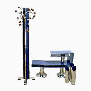 Juego de recibidor de metal pintado en azul y cromado de Allegri Arredamenti Metallici, años 70