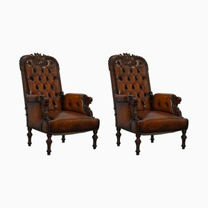Victorian Chesterfield Leather Armchairs, 1840s, Set of 2