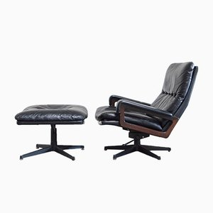 Vintage King Lounge Chair & Ottoman Set by Andre Vandenbeuck for Strässle, 1970s