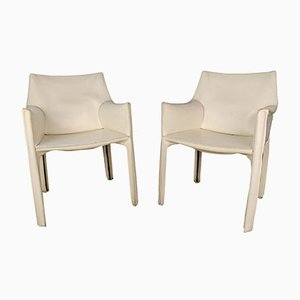 No. 414 Cab Armchairs by Mario Bellini for Cassina, 1970s, Set of 2