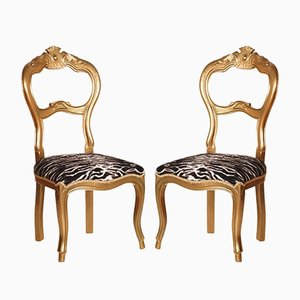 19th Century Italian Walnut Giltwood Side Chairs, Set of 2