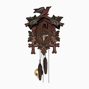 Black Forest Carved Wood Cuckoo Clock with Birds, 1930s