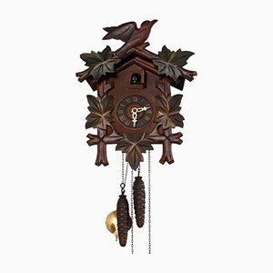 Reloj de cuco Black forest de madera tallada con pájaros, años 30