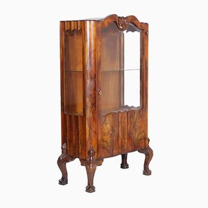 Chippendale Walnut & Burl Walnut Display Cabinet, 1910s
