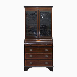 Georgian Glazed Satinwood & Mahogany Cabinet from Gillow's of Lancaster & London, 1900s