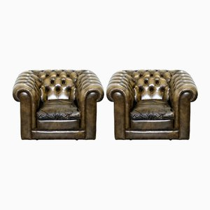 Chesterfield Leather Club Chairs with Feather Cushions, 1960s, Set of 2