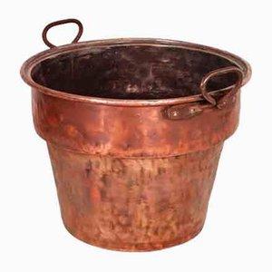 Antiker italienischer Eimer aus solidem Kupfer mit 2 Griffen