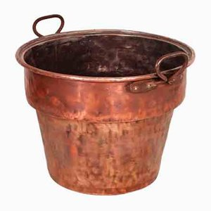 Antique Italian Solid Copper Bucket with 2 Handles