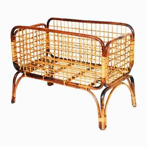 Mid-Century Bamboo & Rattan Cradle, 1950s