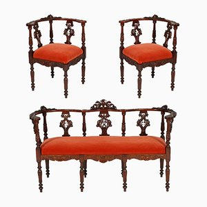 19th-Century Carved Walnut Lounge Set from Testolini Salviati, 1900s