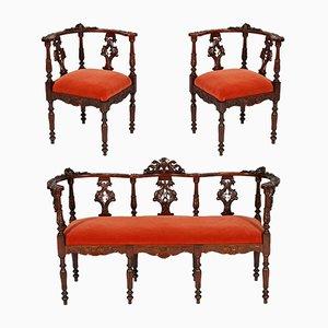 Set da salotto in legno di noce intagliato del XIX secolo di Testolini Salviati, inizio XX secolo