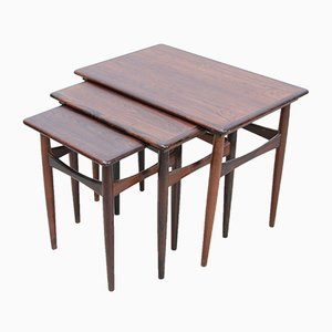 Rosewood Nesting Tables by Kai Kristiansen for Skovmand & Andersen, 1960s