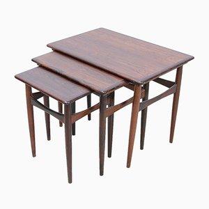 Rosewood Nesting Tables by Kai Kristiansen for Skovmand & Andersen, 1960s