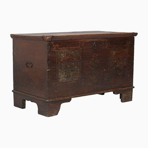 18th-Century Antique Hand-Painted Tyrolean Solid Larch Chest, 1750s