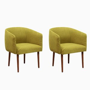 Mid-Century Modern Yellow Club Chairs, Set of 2