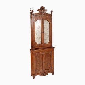 Mobile ad angolo antico Art Nouveau in legno di noce intagliato di Vincenzo Cadorin
