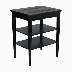 Vintage Ebonized Solid Walnut Rustic Side Table