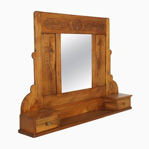 Art Nouveau Walnut Wall Mirror with Shelf & Two Drawers, 1910s