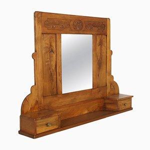 Specchio a muro Art Nouveau in legno di noce con ripiano e due cassetti, anni '10